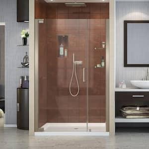 Elegance 46 in. to 48 in. x 72 in. Semi-Frameless Pivot Shower Door in Brushed Nickel