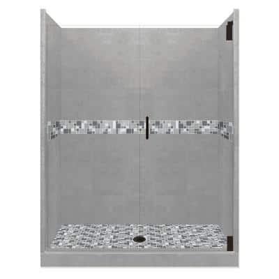 Newport Grand Hinged 36 in. x 54 in. x 80 in. Center Drain Alcove Shower Kit in Wet Cement and Black Pipe Hardware