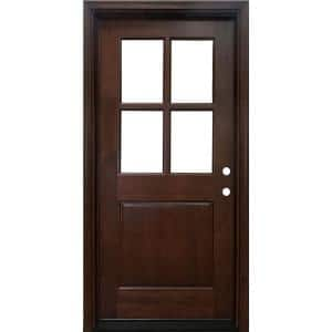 32 in. x 80 in. Farmhouse Ashville Left-Hand Inswing Mahogany Stained Wood Prehung Front Door