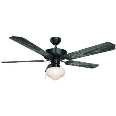 52 in. 1-Light Indoor/Outdoor Black Ceiling Fan with Light and Black ABS Blades and White Glass Shade