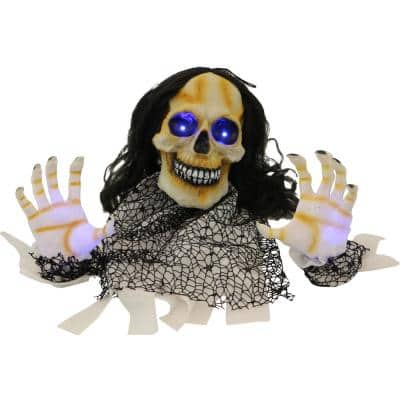 20 in. Battery Operated Groundbreaker Skeleton with Blue LED Lights Halloween Prop