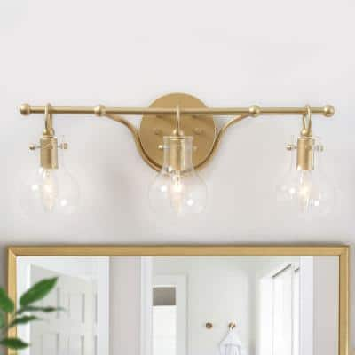 Lavi 3-Light Modern Industrial Gold Brass Vanity Light Bathroom Powder Room Wall Sconce with Clear Glass Shades
