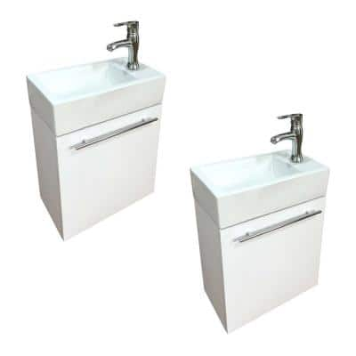 Bathroom Wall Mount Sink Vanity with Towel Bar, Faucet and Drain in White Set of 2