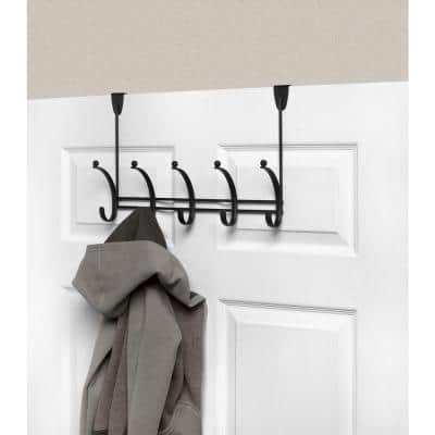 Voy 16-1/4 in. L Decorative 5-Hook Over the Door Rack in Black
