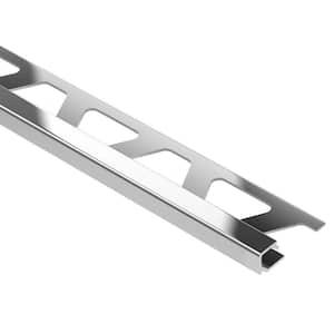 Quadec Polished Chrome Anodized Aluminum 1/2 in. x 8 ft. 2-1/2 in. Metal Square Edge Tile Edging Trim
