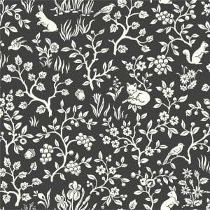 Fox & Hare Straight Black Animal Print Paper Strippable Wallpaper Roll (Covers 56 Sq. Ft.)