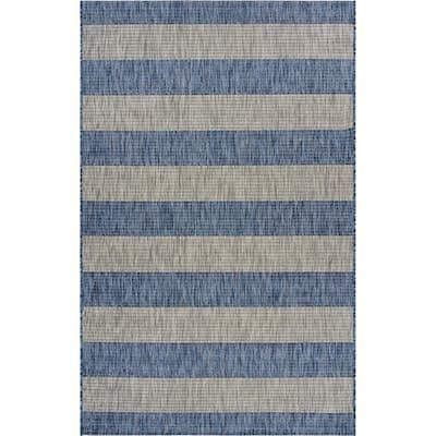 Catalina Coastal Blue/Gray 7 ft. 9 in. x 9 ft. 9 in. Stripes Indoor/Outdoor Area Rug