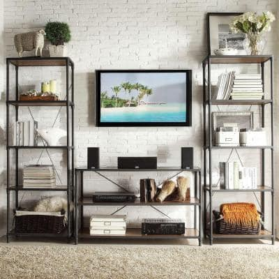 Addison Collection 50 in. Black Metal Entertainment Center Fits TVs Up to 50 in. with Open Storage