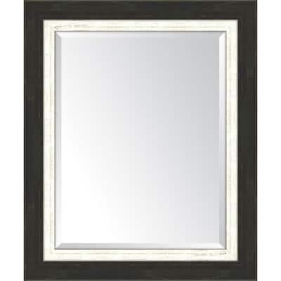 Medium Rectangle Slate Black/White Beveled Glass Classic Mirror (30 in. H x 36 in. W)