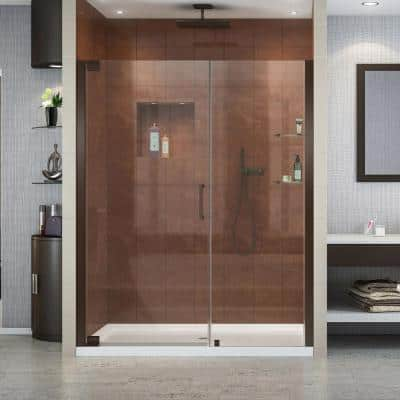 Elegance 54-1/2 in. to 56-1/2 in. x 72 in. Semi-Frameless Pivot Shower Door in Oil Rubbed Bronze