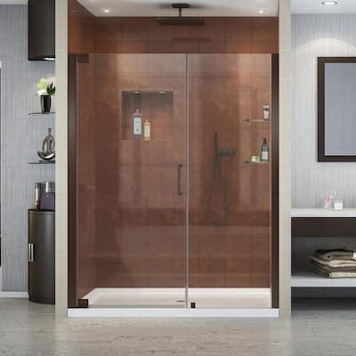 Elegance 59-3/4 in. to 61-3/4 in. x 72 in. Semi-Frameless Pivot Shower Door in Oil Rubbed Bronze