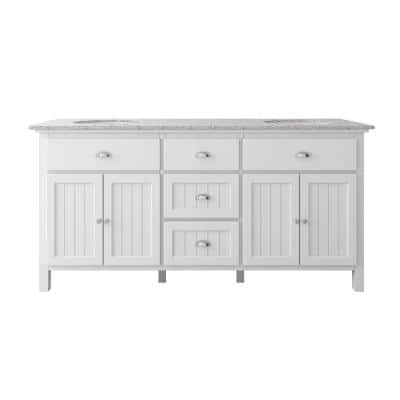 Ridgemore 71 in. W x 22 in. D Vanity in White with Granite Vanity Top in Grey with White Sink