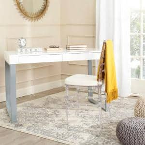 48 in. Rectangular White/Gray 2 Drawer Writing Desk with Built-In Storage