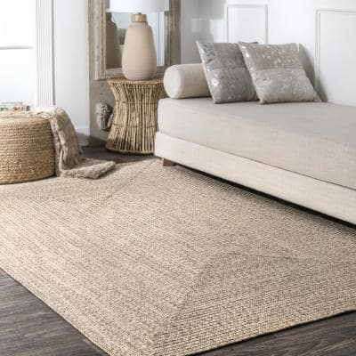 Lefebvre Casual Braided Tan 8 ft. Square Indoor/Outdoor Area Rug