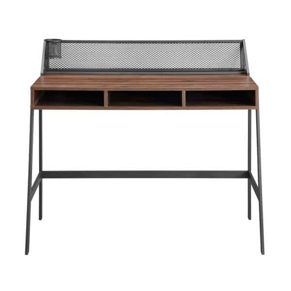 Walker Edison Furniture Company 43 in. Rectangular Dark Walnut Writing Desks with Built-In Storage   The Home Depot