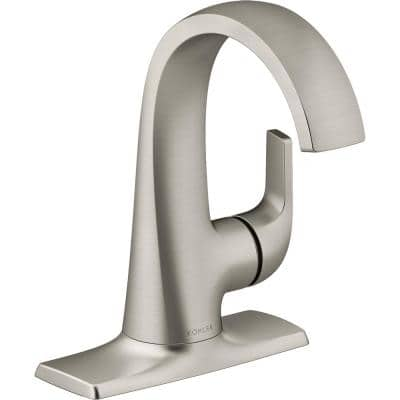 Cursiva Single Hole Single-Handle Bathroom Faucet in Vibrant Brushed Nickel