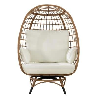 Fredo Light Brown Swivel Wicker Egg Cuddle Outdoor Lounge Chair