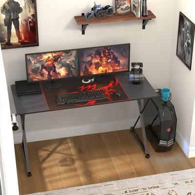 PX Series 55 in. Black Computer Gaming Desk with Cup Holder, Gear Rack, Headphone Hook, Socket Holder