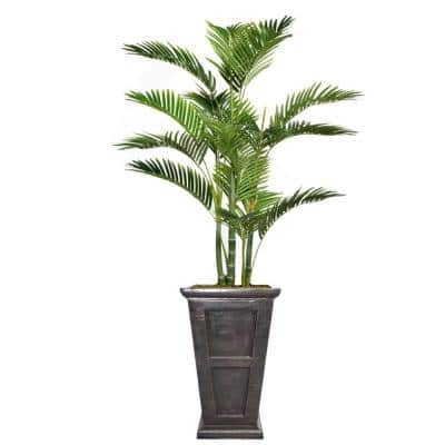 66.8 in. Tall Palm Tree Artificial Decorative Faux with Burlap Kit and Fiberstone Planter