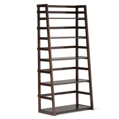 Acadian 63 in. H Dark Brunette Brown Wood 5-Shelf Ladder Bookcase with Open Back