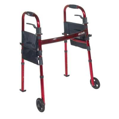 Portable Folding Travel Walker with 5 in. Wheels and Fold up Legs