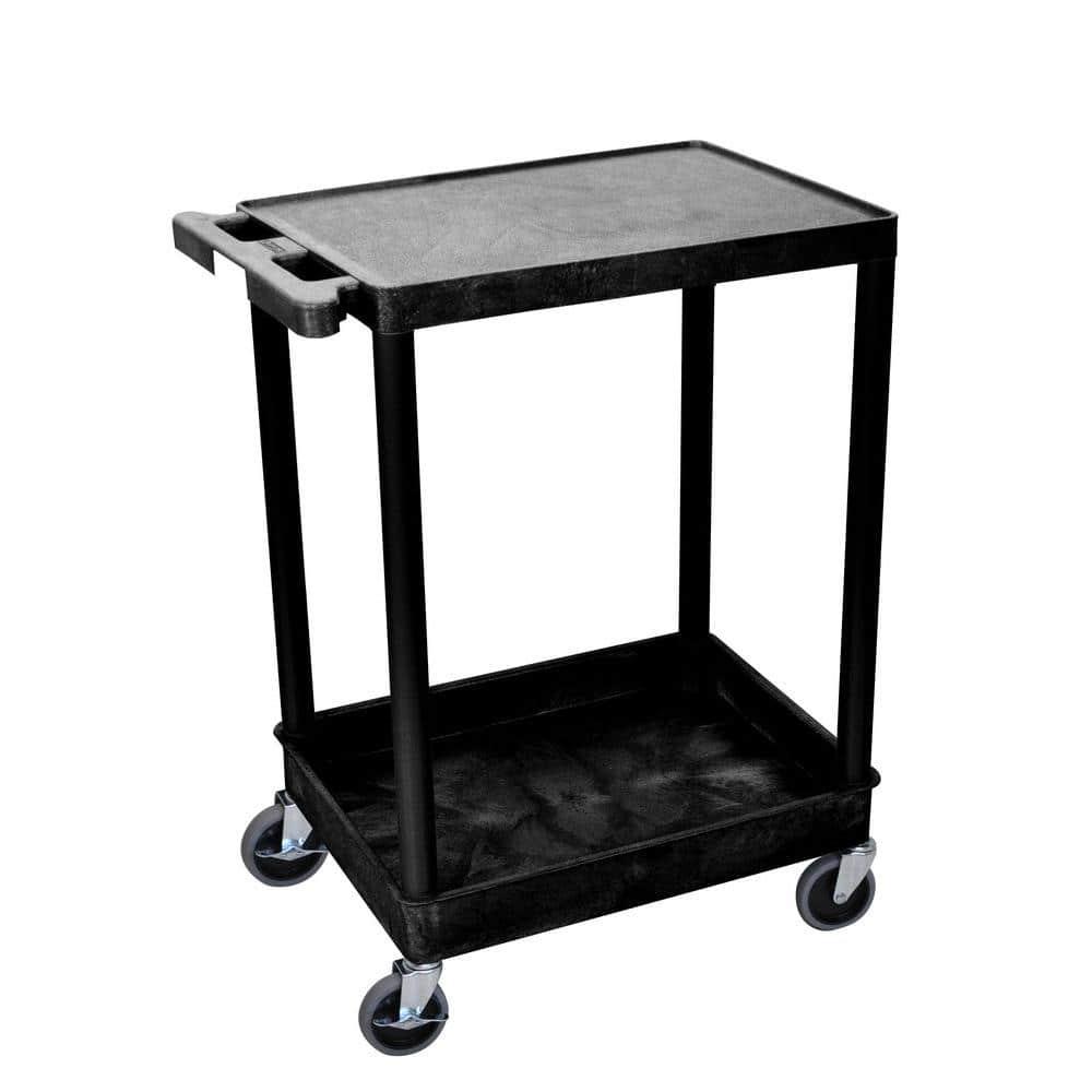 H Wilson STC Series 18 in. W x 24 in. L 2-Shelf Utility Cart, Black