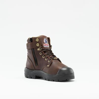 Men's Argyle Metatarsal Zip PR Bump Cap 6 inch Work Boots - Steel Toe - Oak Size 10.5(W)