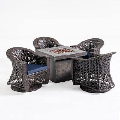 Tempe Multi-Brown 5-Piece Wicker Patio Fire Pit Seating Set with Navy Blue Cushions