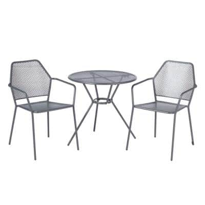 Martini Pencil Point Finish 3-Piece Metal Outdoor Bistro Set with 27.5 in. Round Table and 2 Stackable Chairs
