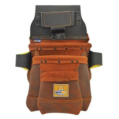 13 in. 3-Pocket Elite Series Leather Tool Pouch in Brown