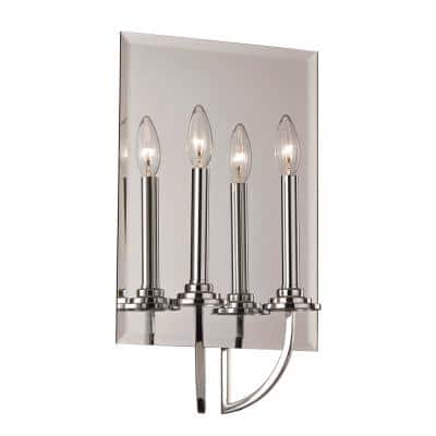 Bel Air Lighting 2-Light Polished Chrome Vanity Light with Mirrored Back