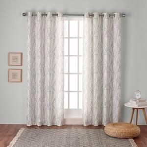 Seafoam Floral Linen Grommet Room Darkening Curtain - 54 in. W x 84 in. L (Set of 2)
