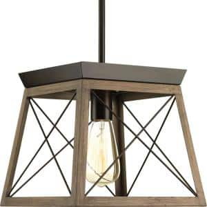 Briarwood Collection 10 in. 1-Light Antique Bronze Farmhouse Mini-Pendant with Painted Wood Oak Frame