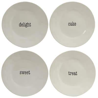 It's Just Words 4-Piece Traditional Multi-Colored Ceramic 9 in. Salad/Dessert Plate Set (Service for 4)