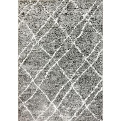 Nordic Grey/Ivory 5 ft. 3 in. x 7 ft. 7 in. Trellis Area Rug