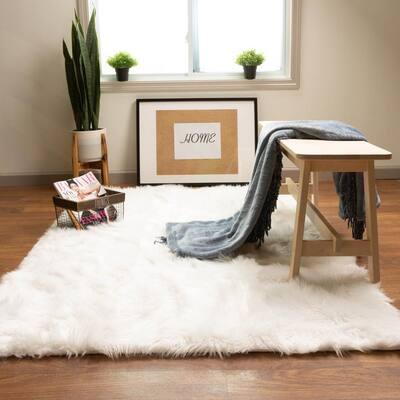 Serene Silky Faux Fur Fluffy Shag Rug Snow White 8' x 10'