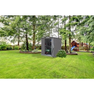 6 ft. H x 5 ft. D x 5.5 ft. D EZEE Galvanized Steel Low Gable Shed in Charcoal with Snap-IT Quick Assembly