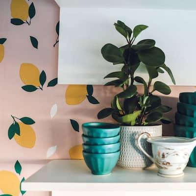 Nesting With Grace Lemons Pink Lemonade Peel and Stick Wallpaper (Covers 28 sq. ft.)