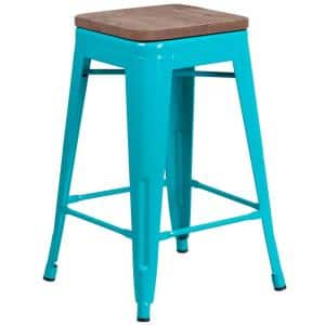 24 in. Crystal Teal-Blue Bar Stool