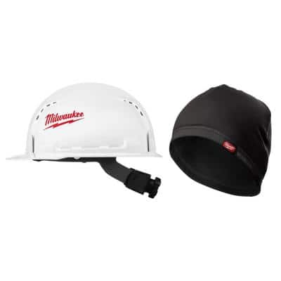 BOLT White Type 1 Class C Front Brim Vented Hard Hat with Workskin Mid-Weight Hard Hat Liner