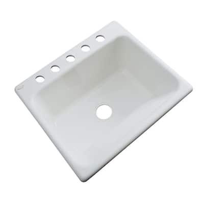 Kensington Drop-In Acrylic 25 in. 5-Hole Single Bowl Utility Sink in Sterling Silver