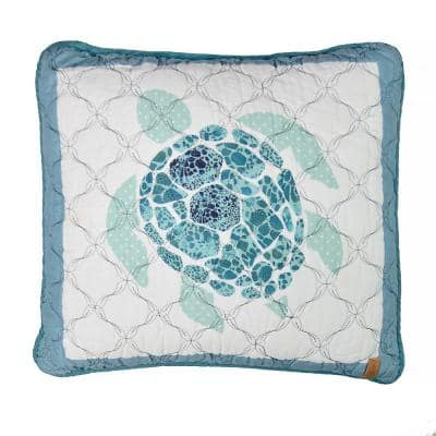 """Summer Surf Sea Turtle Blue Polyester 16"""" x 16"""" Decorative Throw Pillow"""