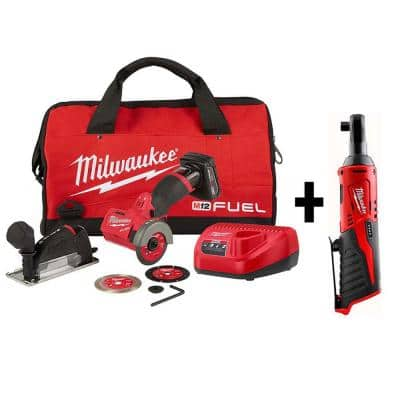 M12 FUEL 12-Volt 3 in. Lithium-Ion Brushless Cordless Cut Off Saw Kit W/ M12 3/8 in. Ratchet