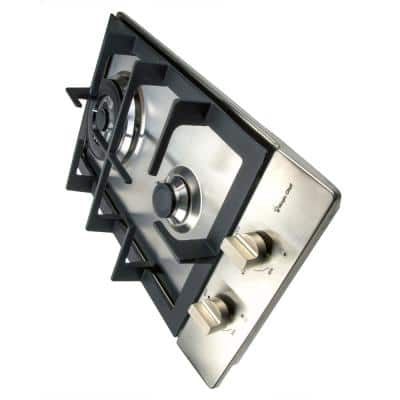 12 in. Gas Cooktop in Stainless Steel with 2 Burners Including Triple Ring Burner