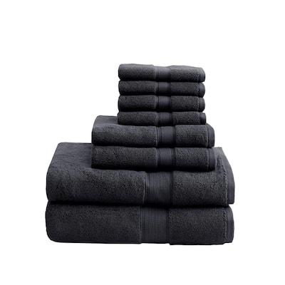 800GSM 8-Piece Black 100% Cotton Towel Set