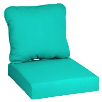 24 in. x 22 in. CushionGuard Sea Glass Deep Seating Outdoor Lounge Chair Cushion