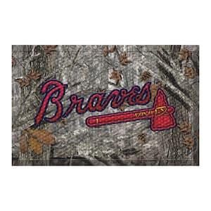 MLB - Atlanta Braves 19 in. x 30 in. Outdoor Camo Scraper Mat Door Mat