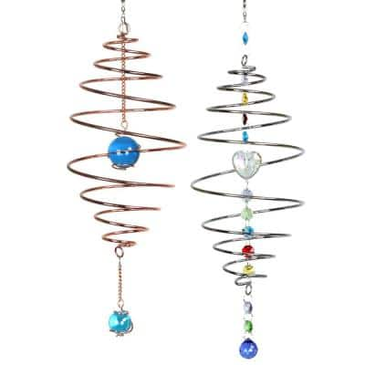 Metal Spinning Spiral with Crystal Accents Spinner (Set of 2)