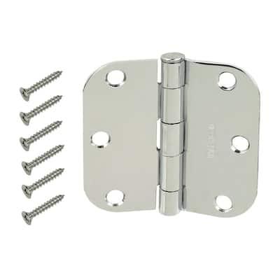 3-1/2 in. x 5/8 in. Radius Chrome Door Hinge Value Pack (24-Pack)