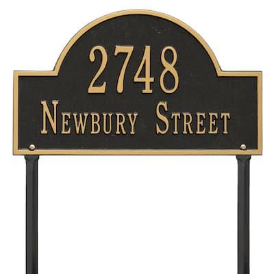 Arch Marker Standard Black/Gold Lawn 2-Line Address Plaque